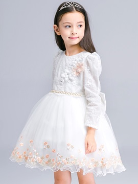 Floral Embroidery Bead Princess Girls Dress