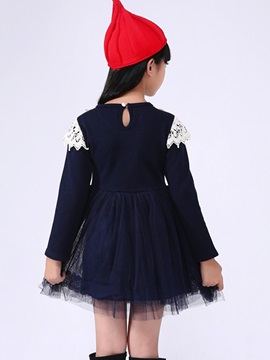 Color Block Lace Mesh Girls Dress