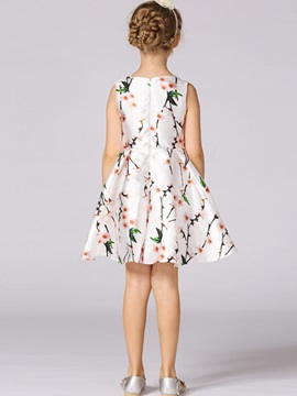 Chic Pleated Floral Girl's Dress