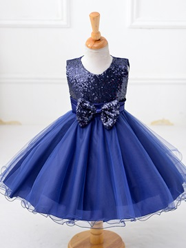Sequins Bow Sleeveless Mesh Patchwork Girl Princess Dress