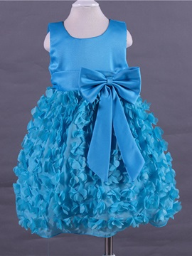 Bow Floral Sleeveless Tutu Girl Dress