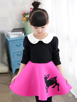 Doll Collar Color Block Patchwork Girl's Dress