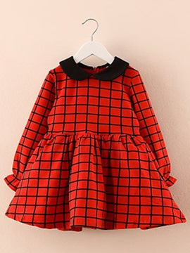 Plaid Doll Collar Long Sleeve Girls Dress