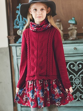 Floral Print Sweater Patchwork Girls Dress