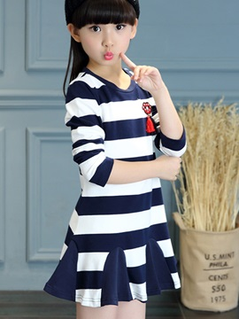 Colored Stripe Ruffles Girl's Dress