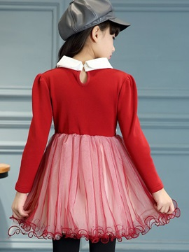 Simple Patchwork Lapel Collar Girl's Dress
