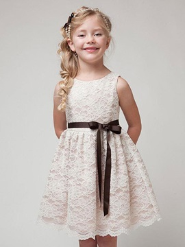 Stylish Lace Belt Designed Girl's Dress