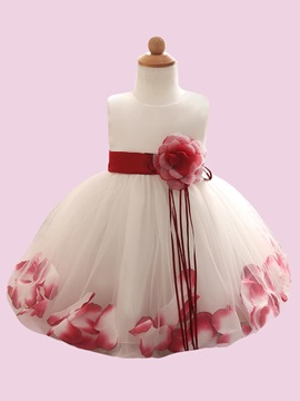 Stylish Flower Decorated Girl's Ball Gown Dress