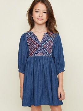 Embroidery V-Neck 3/4 Sleeve Girl's Dress