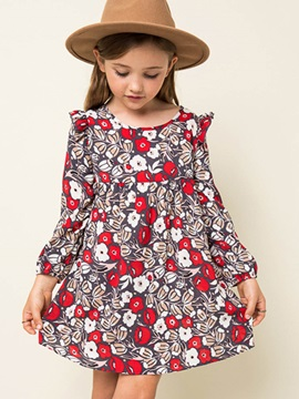 Round Neck Floral Print Big Girl's Dress