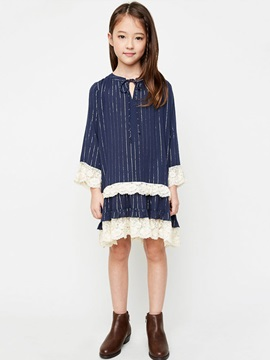 Elegant Stripes Crochet-Trim Girl's Dress