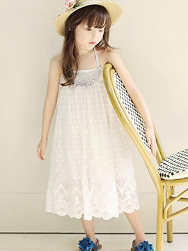 Spaghetti Strap Crochet-Trim Girl's Dress