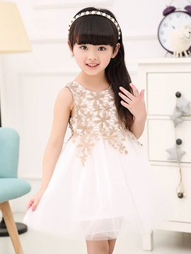 Sweet Mesh Embroidery Princess Girls' Dresses