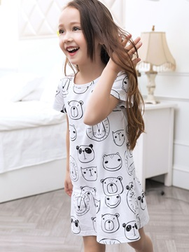 Simple Animal Printed Girls' Dresses