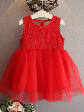 Fashion Mesh Lace Sleeveless Girls' Dresses