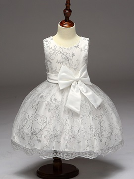 Sweet Embroidery Mesh Bowknot Girl's Dresss