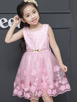 Sweet Mesh Embroidery Bead Belt Girl's Dress