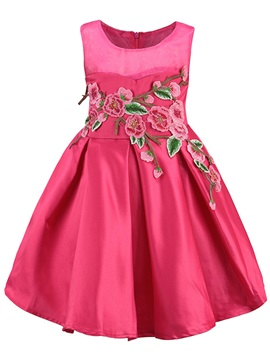 Ladylike Appliques Sleeveless Bud Girl's Dress