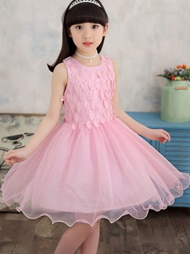 Ladylike Leaf Bowknot Mesh Ball Gown Girl's Dress