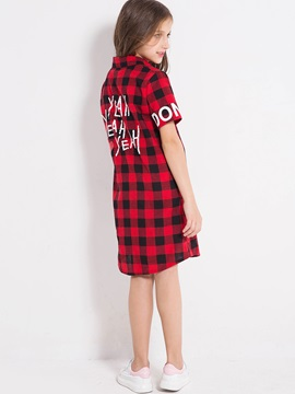 Stylish Girl's Plaid Letter Printed Dress