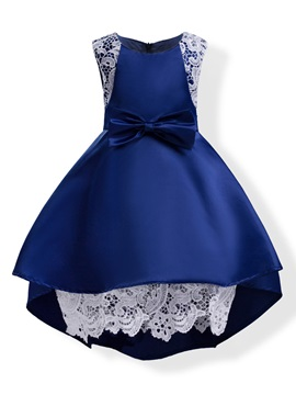 Elegant Mesh Patchwork Sleeveless Bowknot Girl's Princess Dress