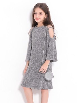 Stylish Strpless Solid Color Bell-Sleeve Girl's Dress