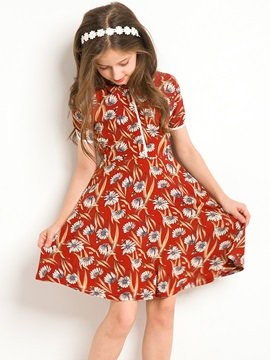 Stylish Flower Printed Notched Collar Girl's Dress