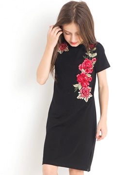 Elegant Embroidery Appliques Girl's Short-Sleeve Dress