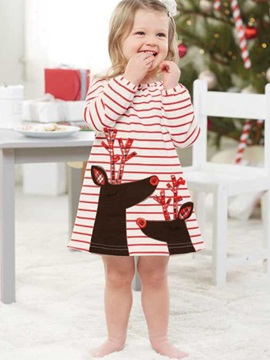 Christmas Print Stripe Round Neck Girl's A-Line Dress