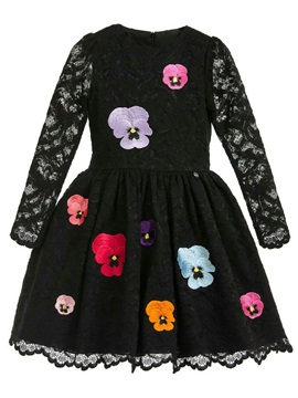 Lace Hollow Flower Embroidery Girl's Princess Dress