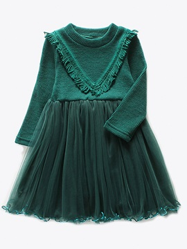 Round Neck Knitting Mesh Patchwork Girl's Dress