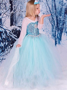 Frozen Elsa Cosplay Mesh Sequins Princess Girls' Dress
