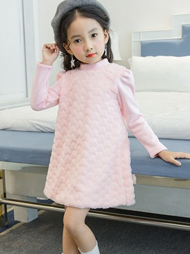 Stand Collar A-Line Pullover Girl's Dress
