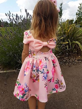 Backless Patchwork Print Bowknot Girls' Dress