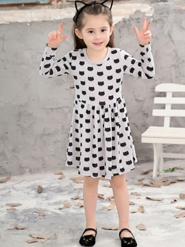 Knee-Length A-Line Print Girl's Dress