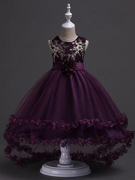 Sleeveless Floral Embroidery Sequins Girls' Dress