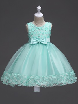 Mesh Sleeveless Lace Bowknot Girls' Dress