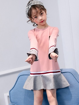Flare Sleeve Above Knee Color Block Girl's Dress