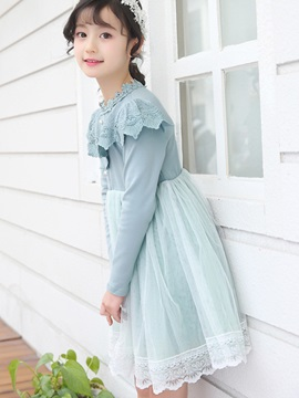 Mesh Pleated Lace Knee-Length Girl's Dress