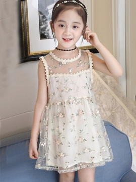 Sleeveless Mesh Embroidery Girl's Dress