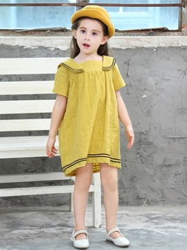 A-Line Stripe Above Knee Girl's Dress