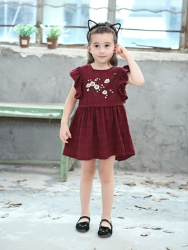 Embroidery Cap Sleeve Floral Girl's Dress