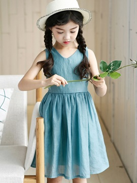 Solid Color V-Neck Pleated Girl's Dress