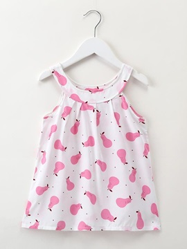 Round Collar Cotton Pear Printed Dress