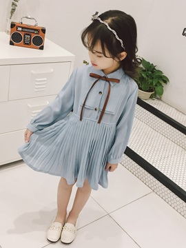 Bowknot Pleated Long Sleeve Girls' Dress