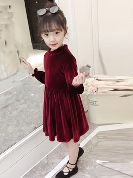 Velvet Plain Long Sleeve A-Line Zip Girls' Dress