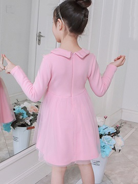 Peter Pan Collar Long Sleeve Mesh Girls' Dress