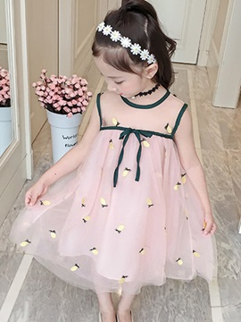 Mesh A-Line Sleeveless Embroidery Girls' Dress