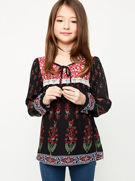 Boho Printing Tie-Neck Girl's Blouse