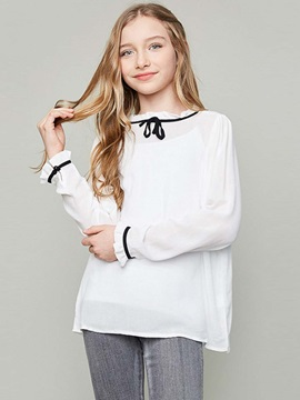 Elegant Contrast-Trim Girl's Shirt